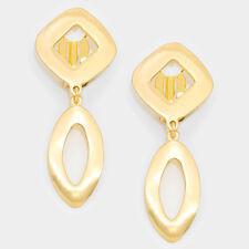 "on earrings non pierced 2.50"" gold oval clip"