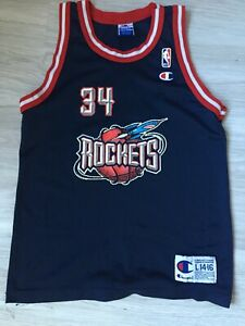 Hakeem Olajuwon # 34  Houston Rockets Vintage Champion Jersey 90s Boys L 14-16