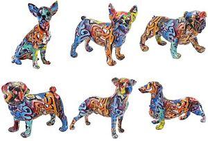 Graffiti Art Resin Figurine Dog Sculpture Ornament Bulldog Home Decor Leonardo