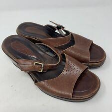 Dansko Womens Brown Leather Slip On Heeled Sandals Size 37 6