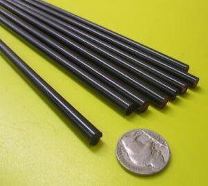 "Nylon 66 Round Rod, Black  1/4"" Dia- .250"" x 60"" Length -8 Units"