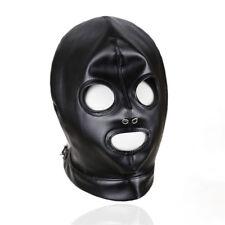 Noir PU Cuir Masque Déguisement Capuche yeux et la bouche de qualité de l'objet
