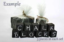 CHALKBOARD BLOCKS Set of 3 Cubes WOODEN 4 WEDDING VENUE Table Decorations NEW