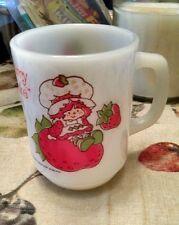 Vintage Strawberry Shortcake cup/mug 1980 American Greetings Milk Glass