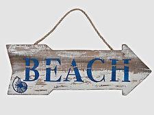 Beach Arrow Sign Distressed Weathered Nautical Wall Wood Plaque Coastal Decor