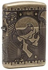 "Zippo ""Steampunk"" Deep Cut Antique Brass Finish Lighter, Armor, 29268"