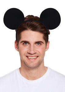 MICKEY MOUSE EARS HEADBAND PLAIN BLACK FANCY DRESS DISNEY HEADBAND