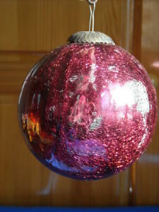 Vintage Kugel Style Red Mercury Glass Crackled Christmas Ball Ornament Heavy