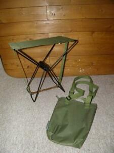 Vintage Olive Green Small Folding Canvas Seat With Carry Bag