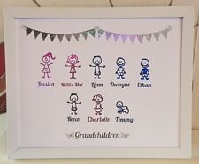 Personalised Stick Family Tree Button Framed Gift Handmade Wedding Pink/Blue