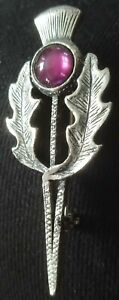 Silver Metal Scottish Thistle Broach/Kilt Pin With Amethyst Coloured Stone