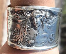 Art Nouveau Goddess Solid Sterling Silver Lady Wide Cuff Bracelet face Woman 925
