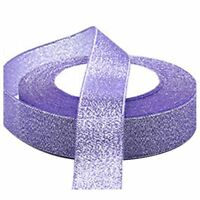 22 Metres 25mm Double Sided Satin Glitter Ribbons Bling Bows Reels Wedding N9Z7
