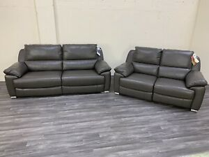 Brand New Harveys Apsley Elephant Grey 3 and 2 seater Real Leather Recliner sofa
