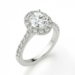 1.20 Ct Oval Cut Diamond Wedding Ring 18K White Gold ring All Sizes