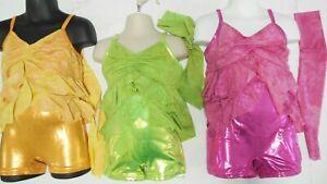 Ruffled Shorty unitard 3 Colors Foil brights Girls sizes Jazz Dance Costume