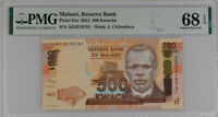 Malawi 500 Kwacha 2012 P 61 a Superb GEM UNC PMG 68 EPQ Top Pop