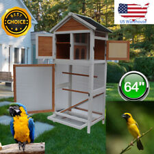 """New listing 64"""" Bird Cage Wooden Parrot Cockatiel Finch Conure Perches Play House Pet Supply"""