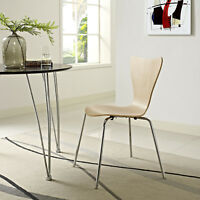 Mid-Century Modern Retro Bent Wood Chrome Metal Leg Dining Side Chair in Natural