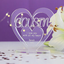 Personalised Heart with Message Ornament Keepsake Birthday Cousin Gift