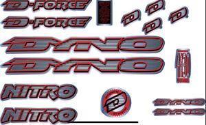 Dyno Nitro 1997 Decal Set old school BMX Restoration Red Black on Chrome