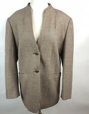 Talbots Wool Classic Blazer Sz 14W Brown Pattern 2 Button Lined Career Jacket