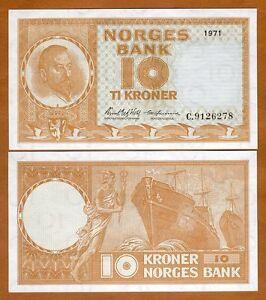 Norway, 10 Kroner, 1971, P-31 (31f), UNC