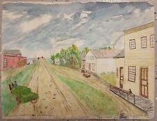 VINTAGE AMERICAN FOLK ART 1859 TWO CREEKS WI MANITOWOC SHIPS DOG SALOON PAINTING