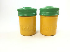 2 Vintage Kodak 35mm Colored Film Canisters, Green on Yellow
