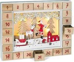 BRUBAKER Advent Calendar - Red Santa - Wooden Christmas Scene with LED Lights