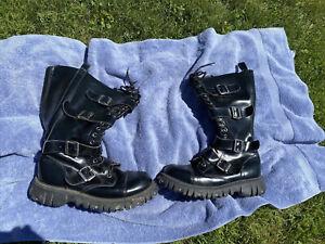 T.U.K. 4 strap m4046 black leather combat boots. Goth unisex mens .Size 12. TUK