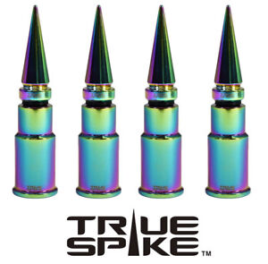 4 TRUE SPIKE NEOCHROME SPIKED WHEEL RIM TIRE AIR VALVE STEM COVER CAP FOR HONDA