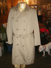 MISTY HARBOR Men's Double Breasted TRENCH / Rain Coat PILE Lined Removable sz 42