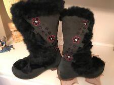 ULU BLACK RABBIT boots LEATHER flowers WOMENS 9 BOOT winter Primaloft