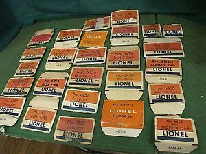 Accumulation of Postwar Lionel box ends, flaps all 6000 series