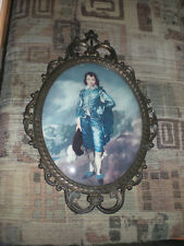 Vintage Picture Little Blue Boy Bubble Glass Made in Italy Victorian