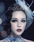 Wedding headdress Bridal Feather net bow Birdcage Face Veil Fascinator veils TOP