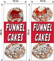 "PAIR OF 12"" X 30""  VINYL BANNERS FUNNEL CAKES NEW VERTICAL STRAWBERRY CHERRY!"