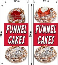 """PAIR OF 12"""" X 30""""  VINYL BANNERS FUNNEL CAKES NEW VERTICAL STRAWBERRY CHERRY!"""
