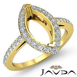 Diamond Engagement Filigree  Pave Ring Marquise Semi Mount 18k Yellow Gold 0.45C