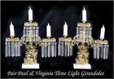 Pair Paul & Virgina Three Light Girandoles Garnitures