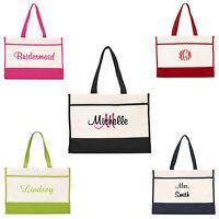 Personalized Tote Bag Monogram Bride Bridal Bridesmaid Gift Wedding Teacher