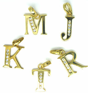 9ct Yellow Gold Initial Pendant / Charm set with White Cubic Zirconia     1302