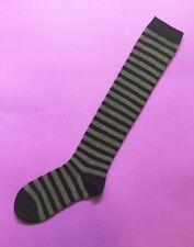 1 Pair Women Girls Cotton Black Grey Knee High Striped Party Socks Size 2-8