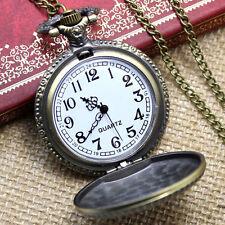 Retro Bronze Necklace Pendant Masonic Freemasonry Pocket Watch Quartz Vintage