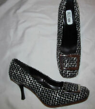PELLE MODA tweed black and white plaid front buckle pumps shoes 8.5 M NEW  **