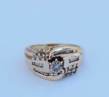Ladies Genuine Diamond Solitaire Ring w/ 34 Accent Diamonds - 14k Yellow Gold