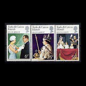 Turks & Caicos, Sc #321-23, MNH, 1977, Royalty, Silver Jubilee, FDD-A