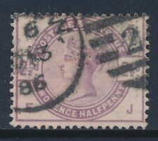 1884 Gb Qv 2½d Lilac Used Sg190 Letters 'Ej'