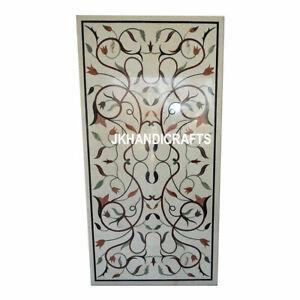 "30"" x 48"" White Marble Dining Table Top Taj Mahal Jasper Inlay Hallway Decor"